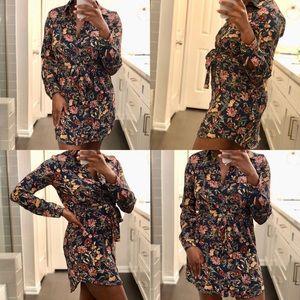 Floral T-Shirt Waist Tie Dress
